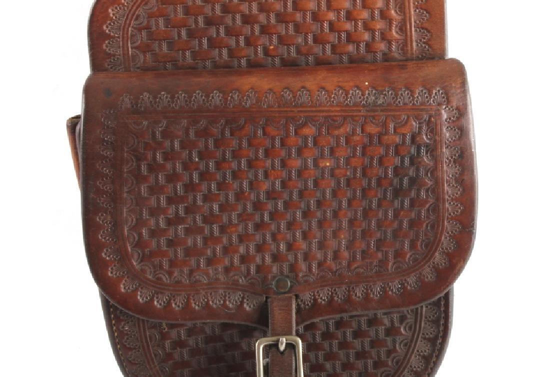 Early Montana Tooled Leather Western Saddlebags - 5