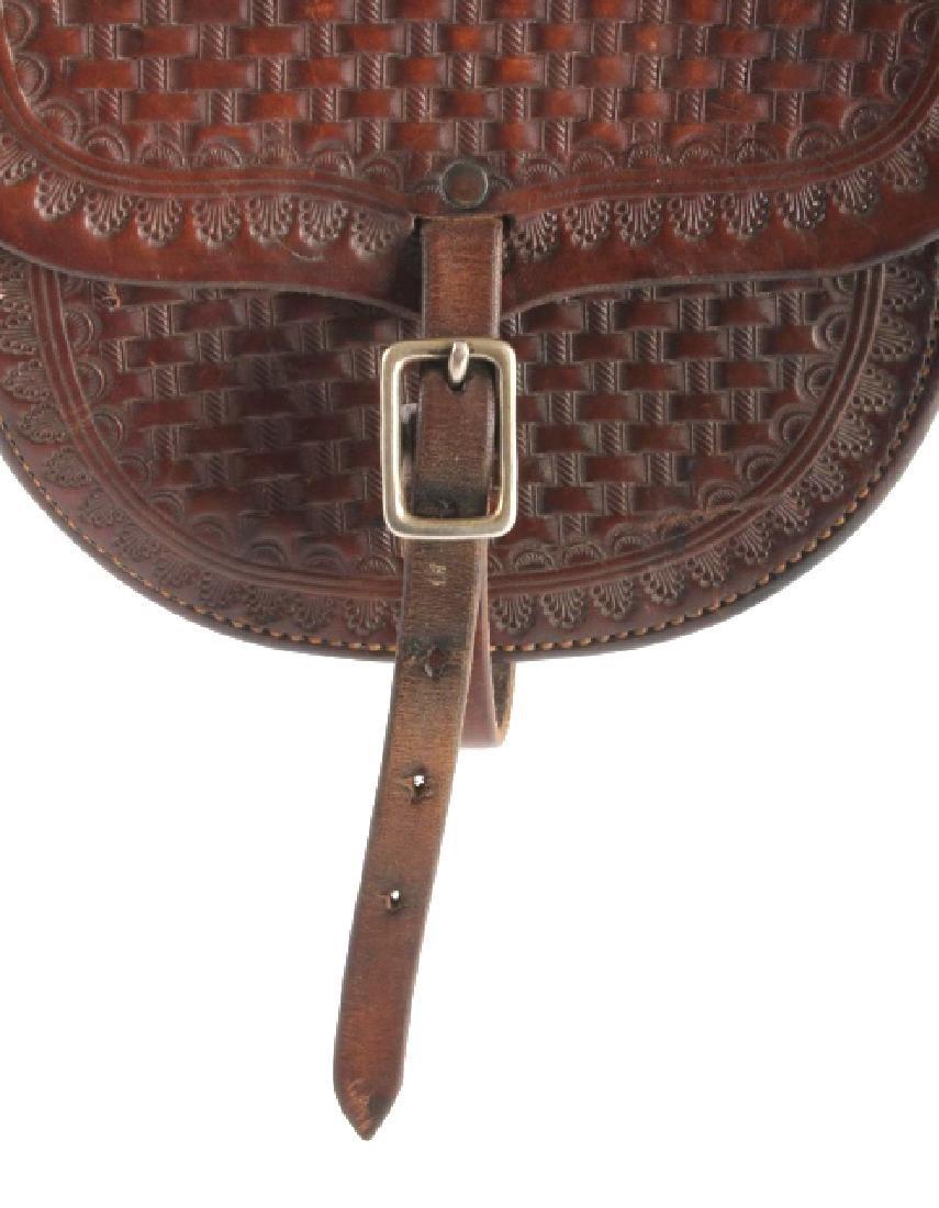 Early Montana Tooled Leather Western Saddlebags - 6