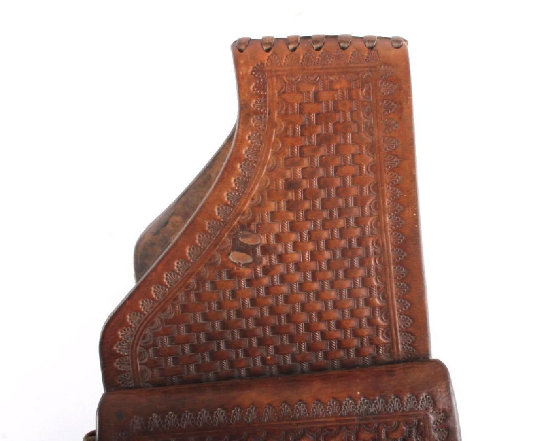 Early Montana Tooled Leather Western Saddlebags - 7