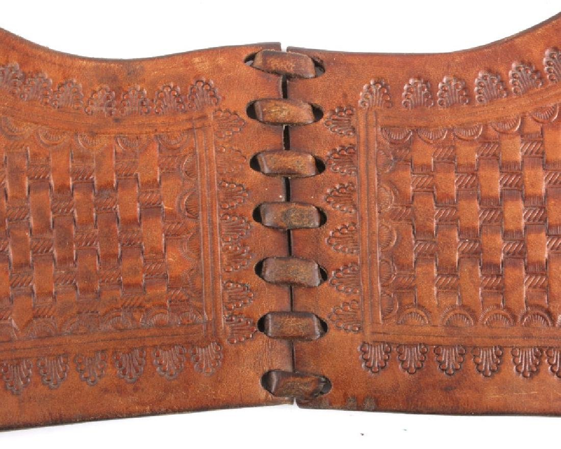 Early Montana Tooled Leather Western Saddlebags - 8