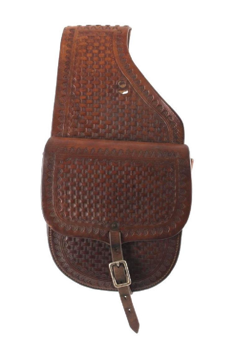 Early Montana Tooled Leather Western Saddlebags - 9