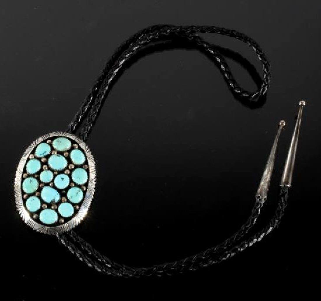 Signed Navajo Sterling & Turquoise Bolo-Tie