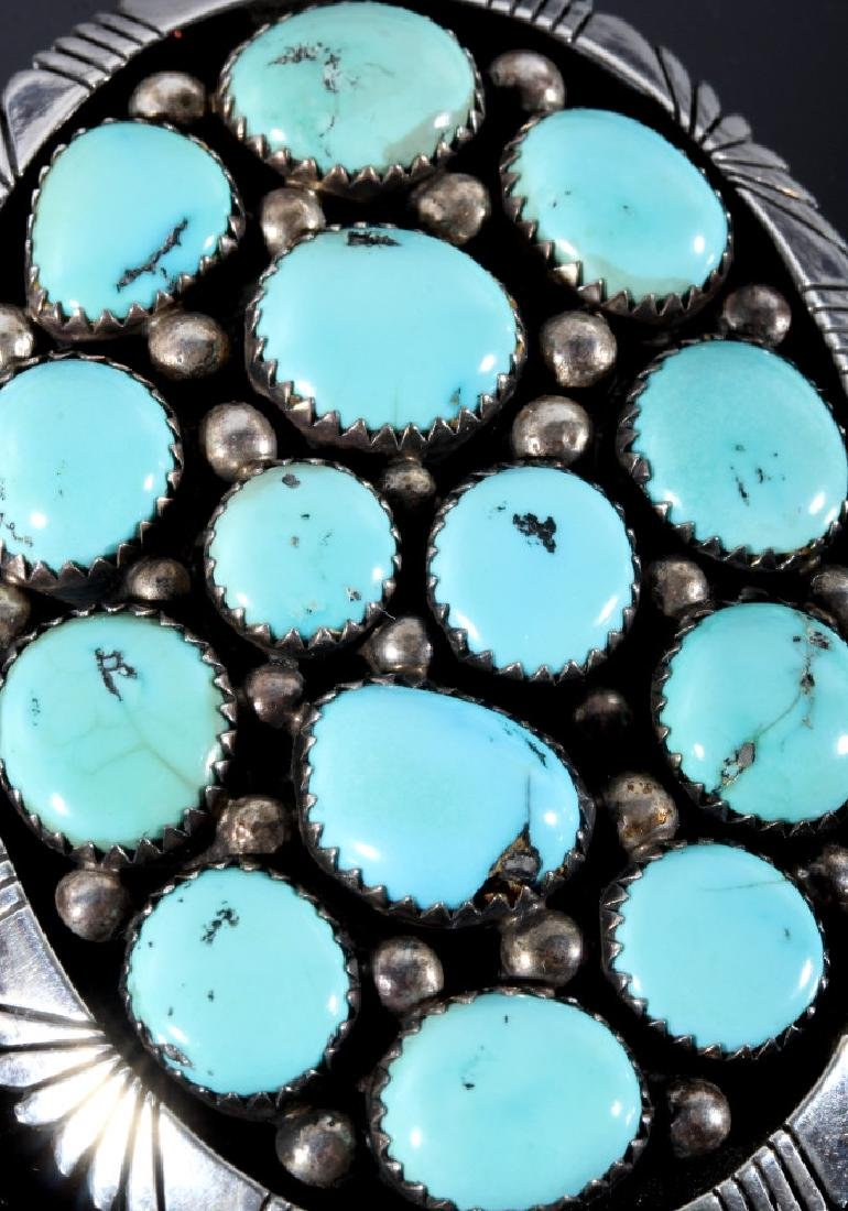 Signed Navajo Sterling & Turquoise Bolo-Tie - 3