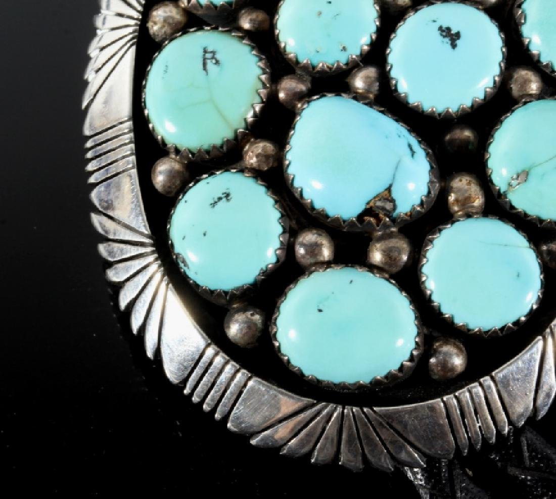 Signed Navajo Sterling & Turquoise Bolo-Tie - 4