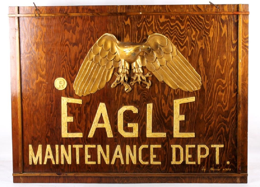 Eagle Maintenance Dept Wood Trade Sign