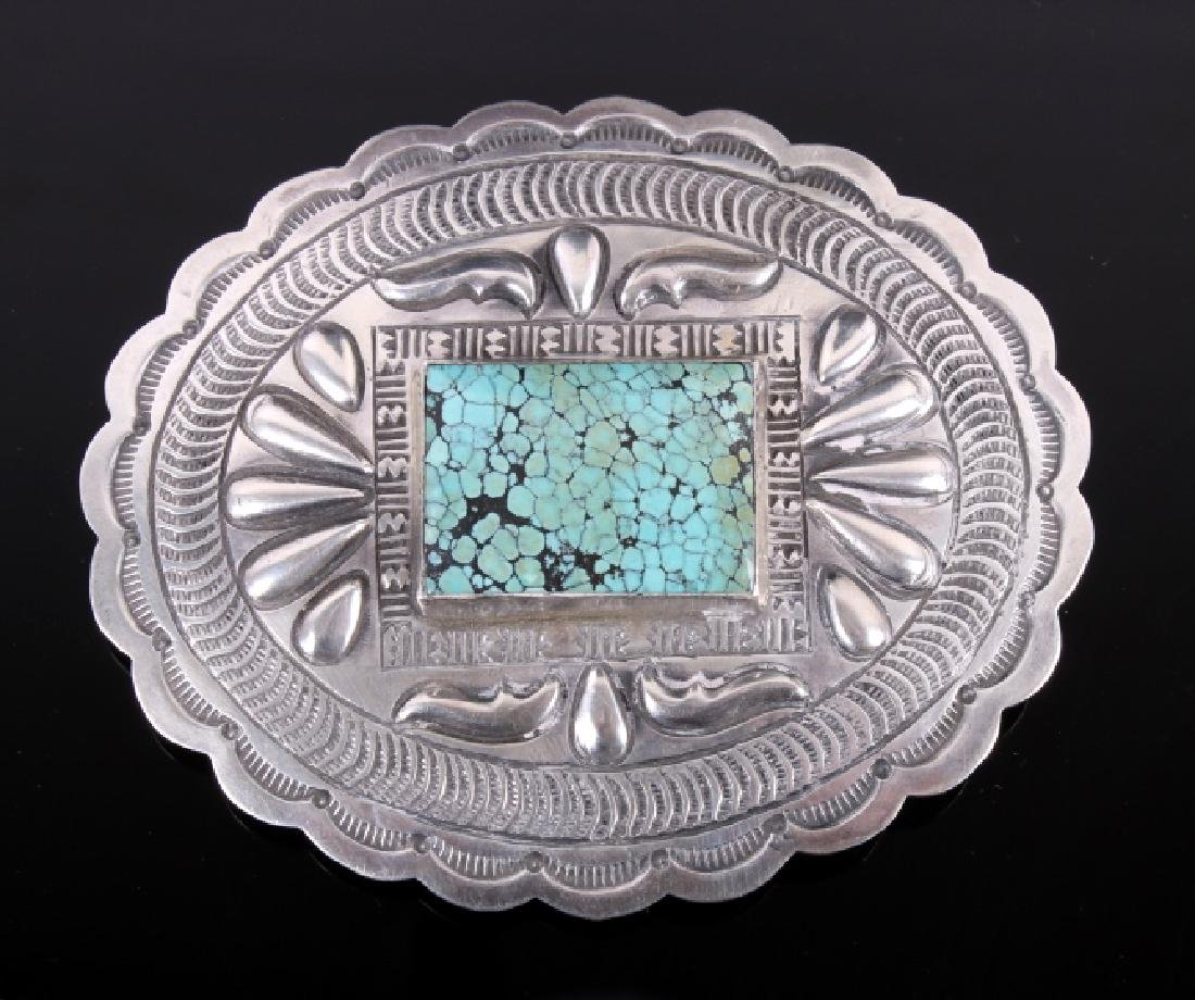 Navajo Sterling and Number 8 Turquoise Buckle