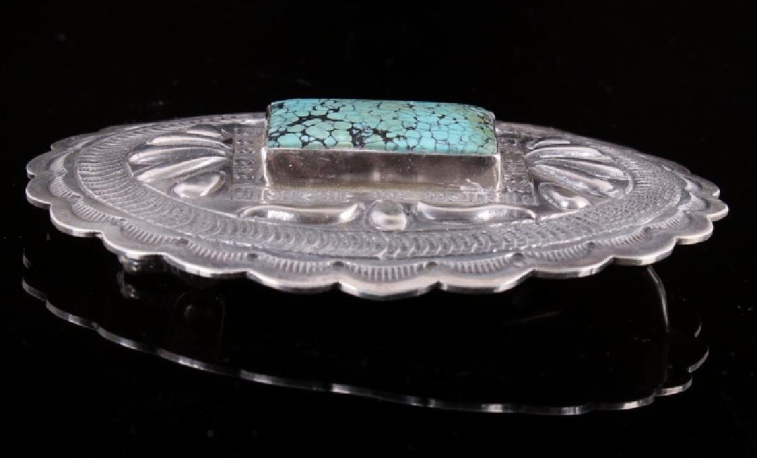 Navajo Sterling and Number 8 Turquoise Buckle - 8