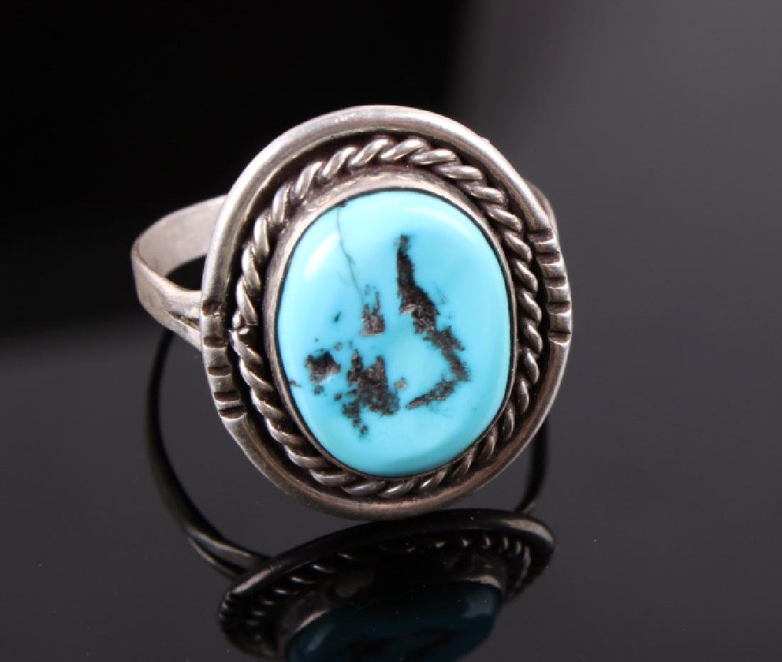 Navajo Sterling Silver and Turquoise Ring - 2