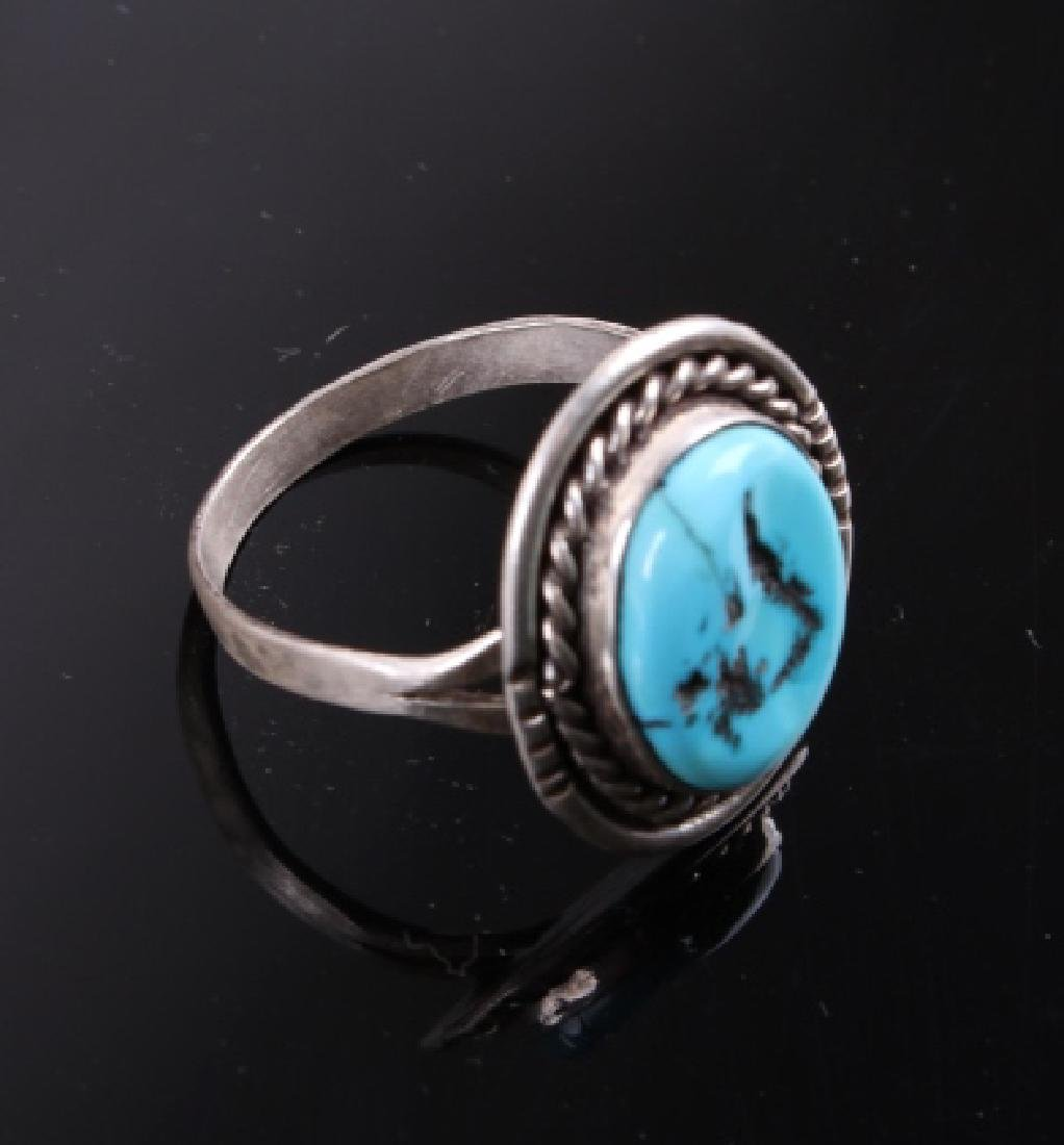 Navajo Sterling Silver and Turquoise Ring - 4