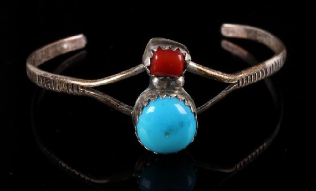 Collection of Navajo Silver & Turquoise Bracelets - 10