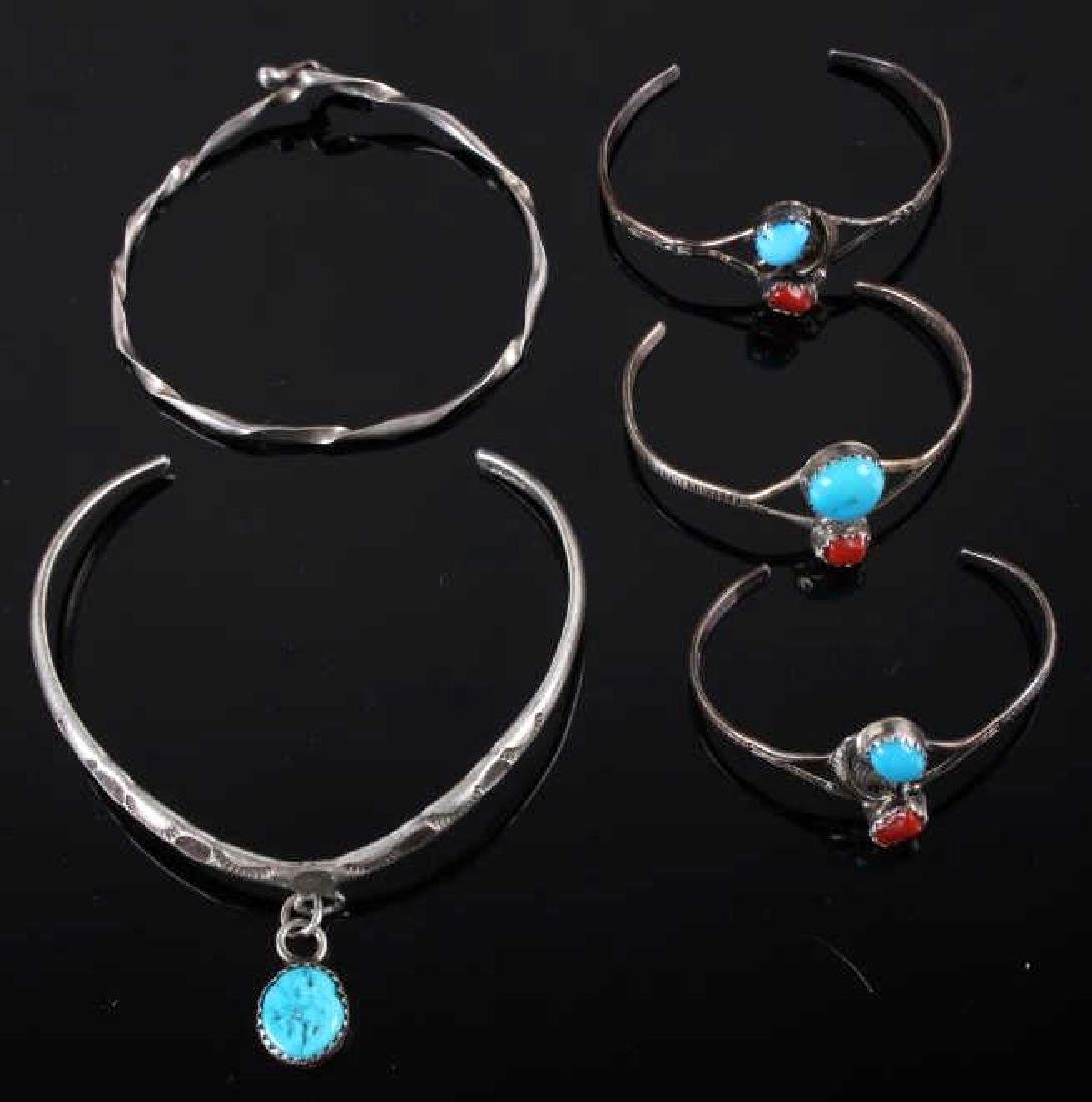 Collection of Navajo Silver & Turquoise Bracelets