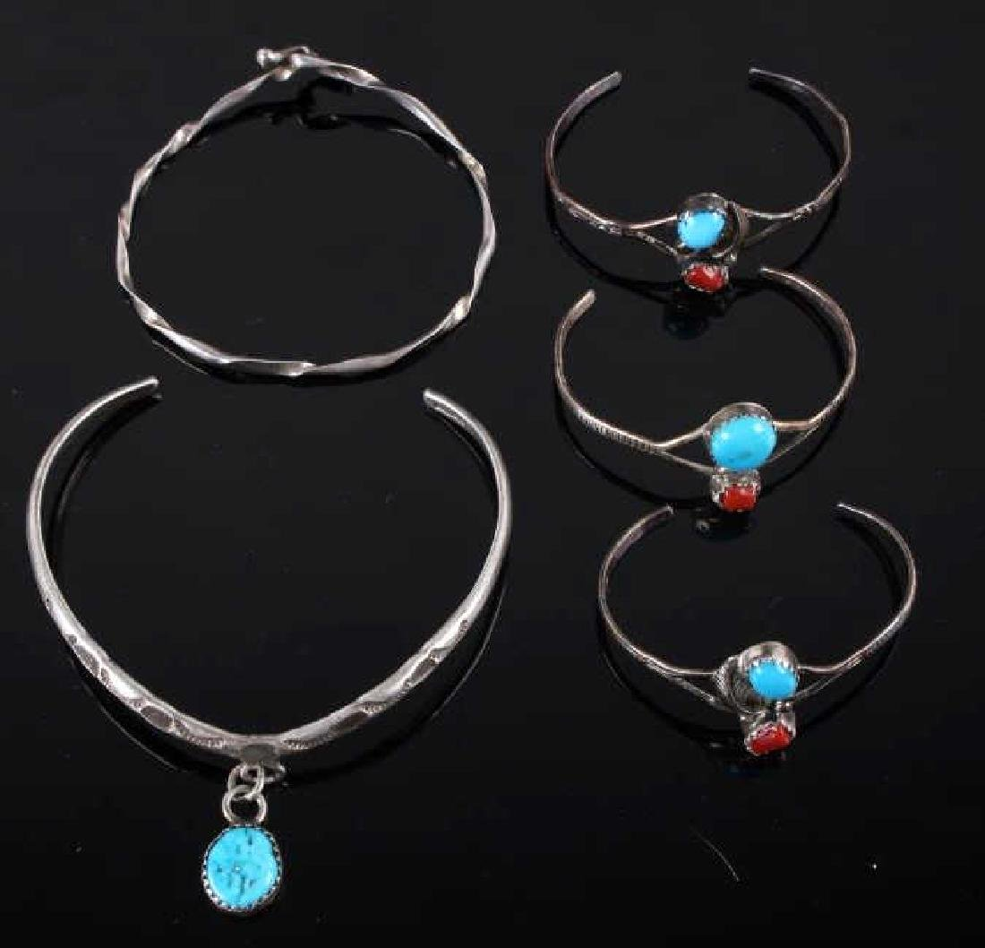 Collection of Navajo Silver & Turquoise Bracelets - 2