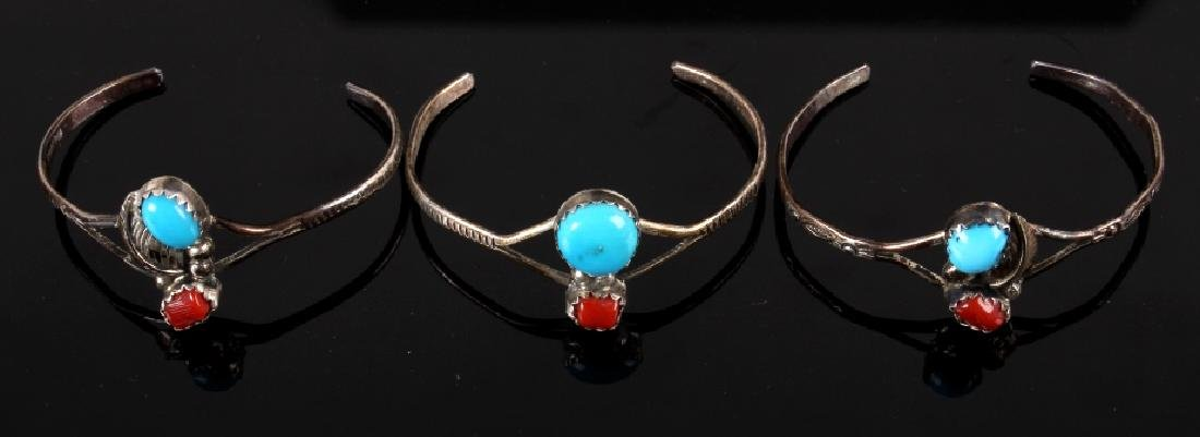 Collection of Navajo Silver & Turquoise Bracelets - 8
