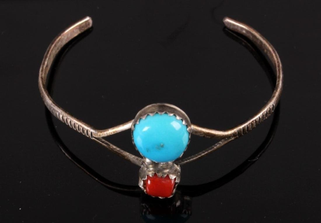 Collection of Navajo Silver & Turquoise Bracelets - 9