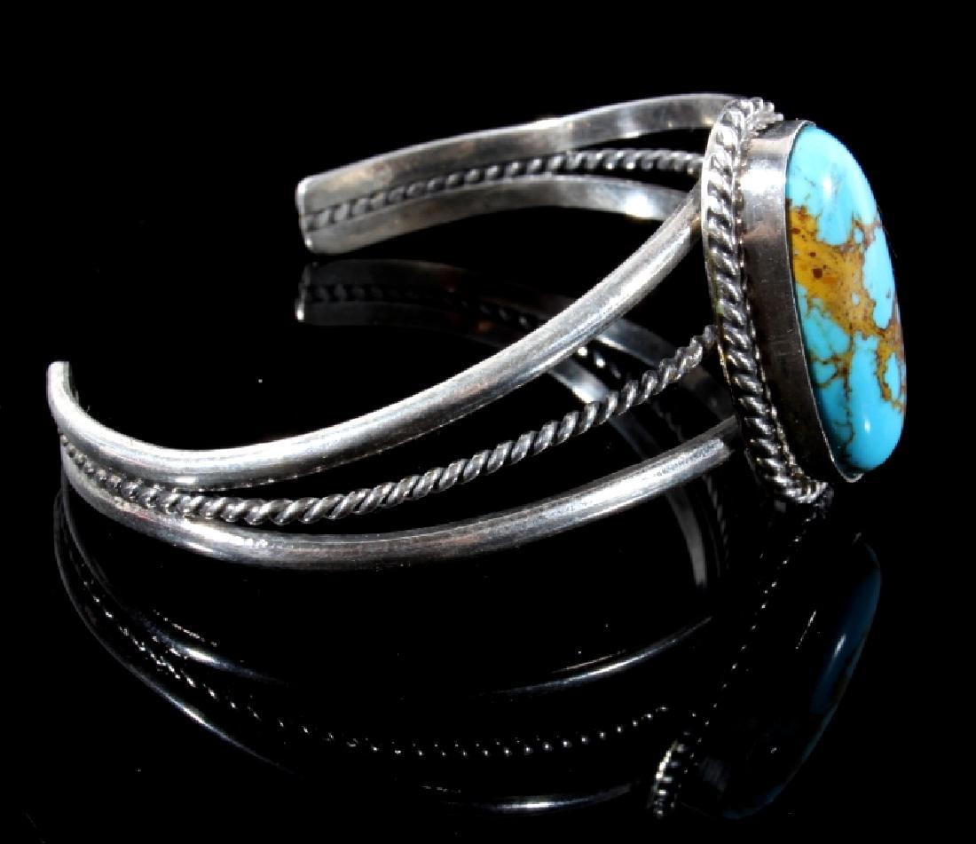 Navajo Sterling Silver & Turquoise Bracelet - 3