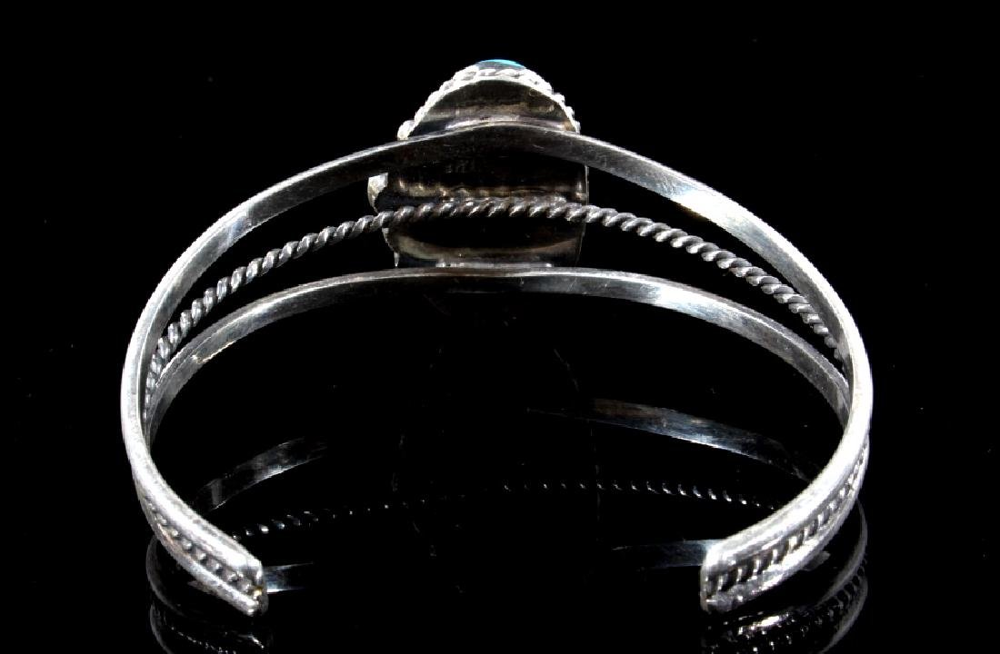 Navajo Sterling Silver & Turquoise Bracelet - 4