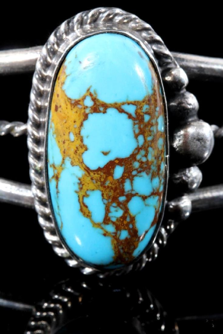 Navajo Sterling Silver & Turquoise Bracelet - 5