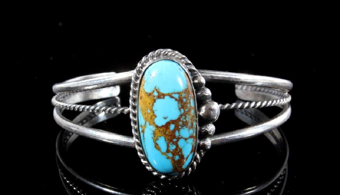 Navajo Sterling Silver & Turquoise Bracelet - 7