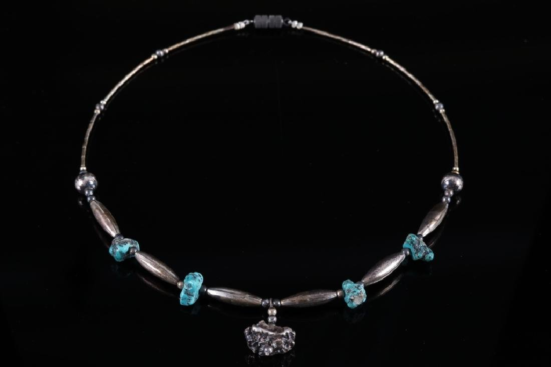 Navajo Old Pawn Silver & Turquoise Nugget Necklace