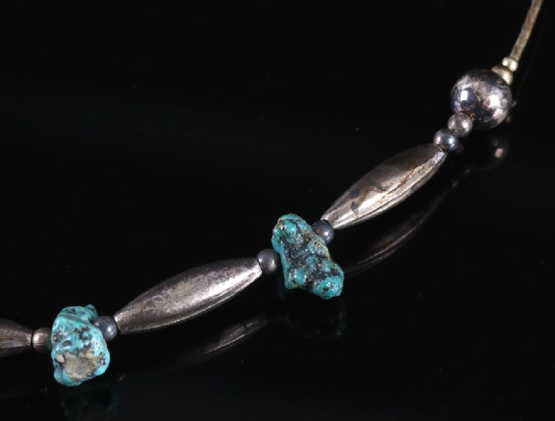 Navajo Old Pawn Silver & Turquoise Nugget Necklace - 3
