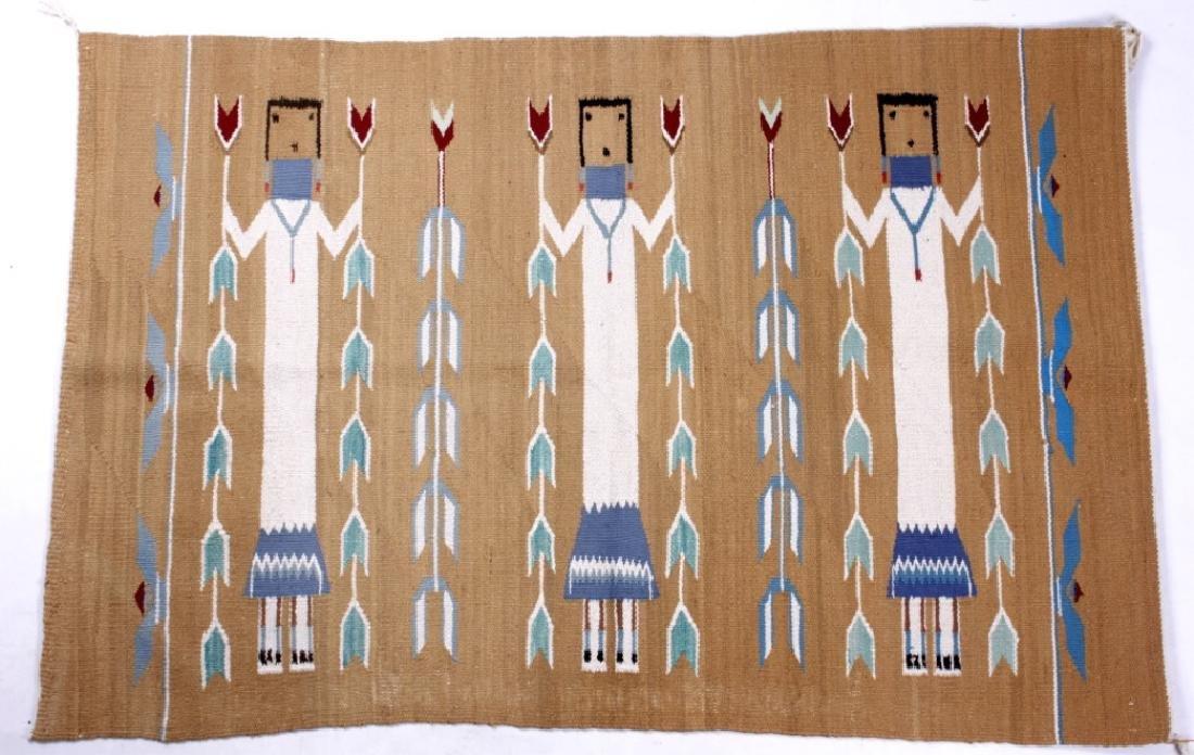 Navajo Polychrome Yei Rug Early 1900