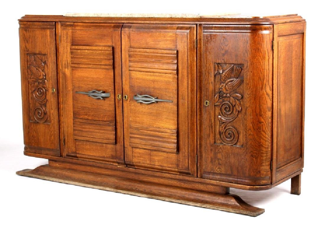 Antique Carved Oak Marble Top Sideboard Buffet - 2