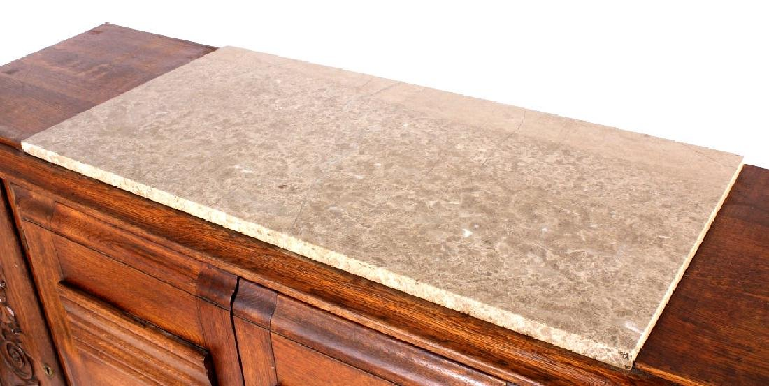 Antique Carved Oak Marble Top Sideboard Buffet - 4