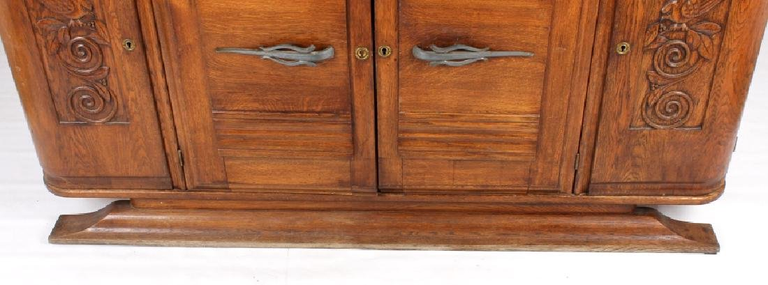 Antique Carved Oak Marble Top Sideboard Buffet - 8