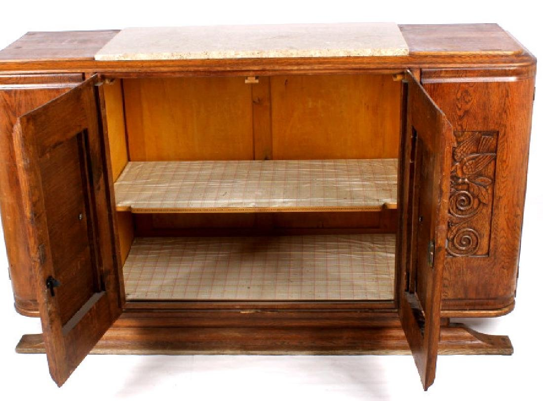 Antique Carved Oak Marble Top Sideboard Buffet - 9