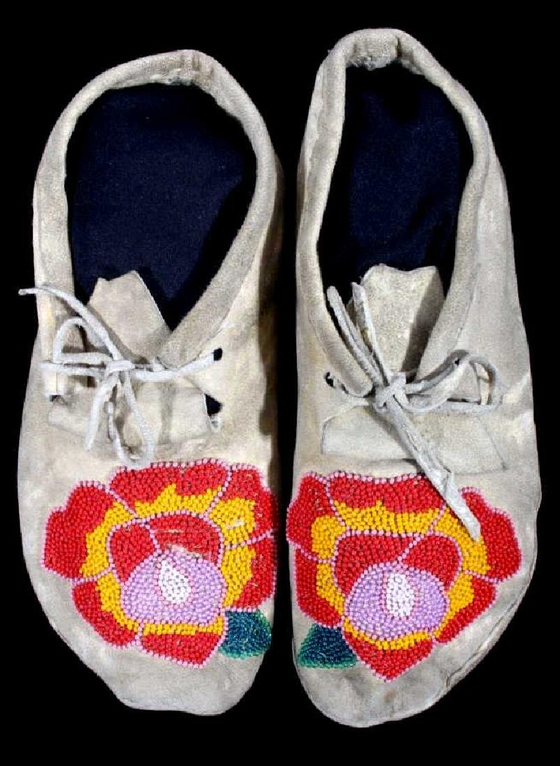 Cree Indian Floral Beaded Moccasins c. 1900-1930's
