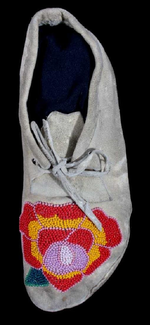 Cree Indian Floral Beaded Moccasins c. 1900-1930's - 2