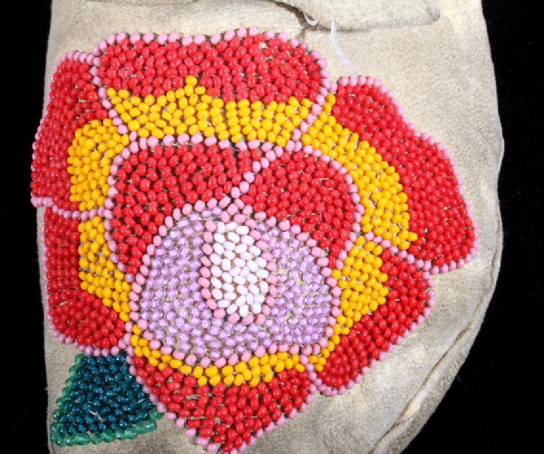 Cree Indian Floral Beaded Moccasins c. 1900-1930's - 4