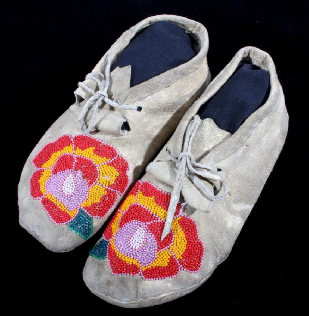 Cree Indian Floral Beaded Moccasins c. 1900-1930's - 9