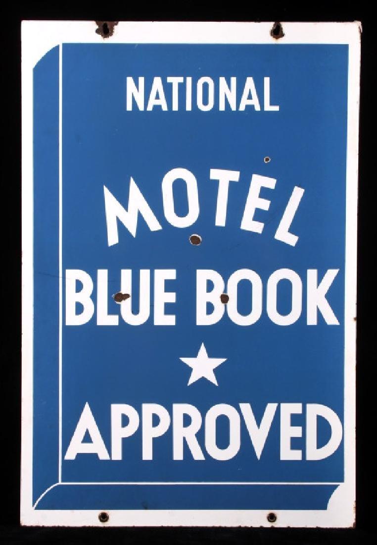 RARE Blue Book Approved Motel Porcelain Sign - 2