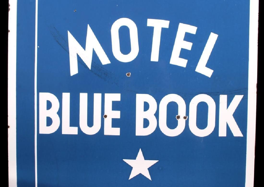 RARE Blue Book Approved Motel Porcelain Sign - 5