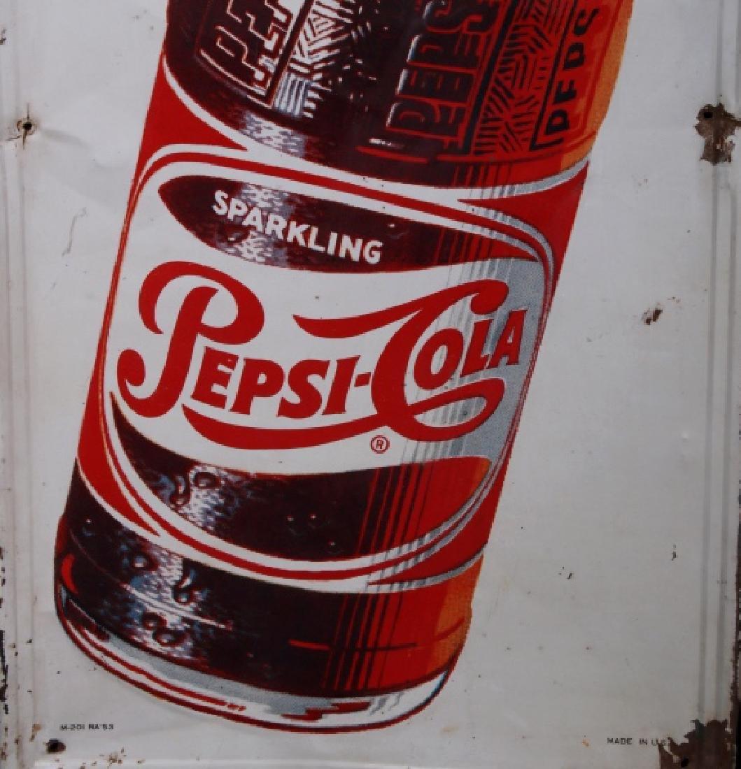 1950's Vintage Drink Pepsi-Cola Advertising Sign - 3