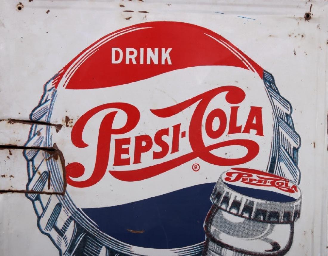 1950's Vintage Drink Pepsi-Cola Advertising Sign - 5