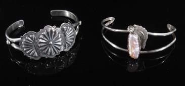 Two Sterling Silver Native American Bracelets