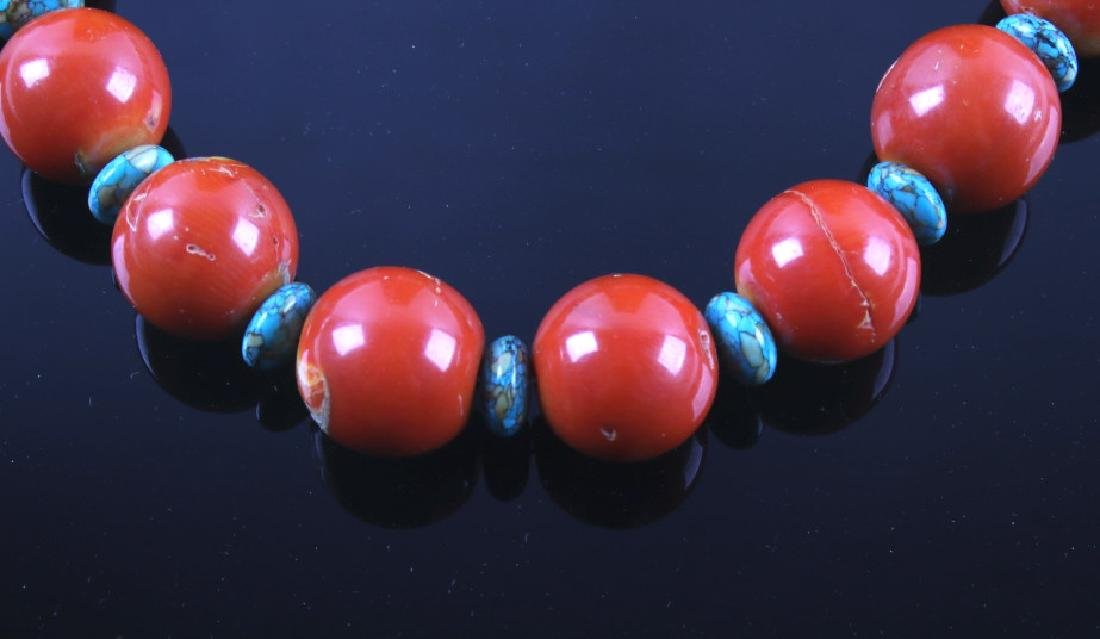 Navajo Bamboo Coral and Turquoise Nugget Necklace - 2
