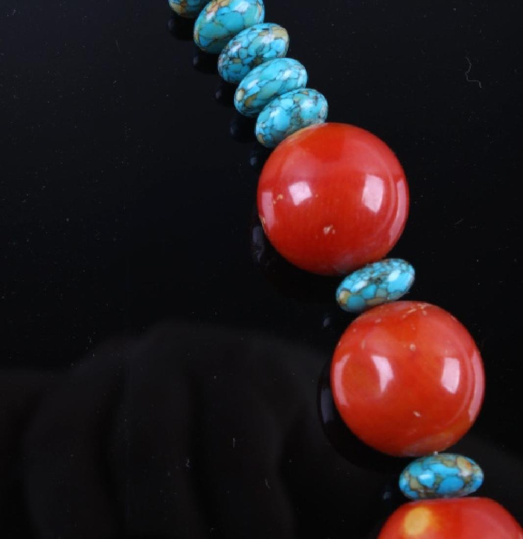 Navajo Bamboo Coral and Turquoise Nugget Necklace - 3