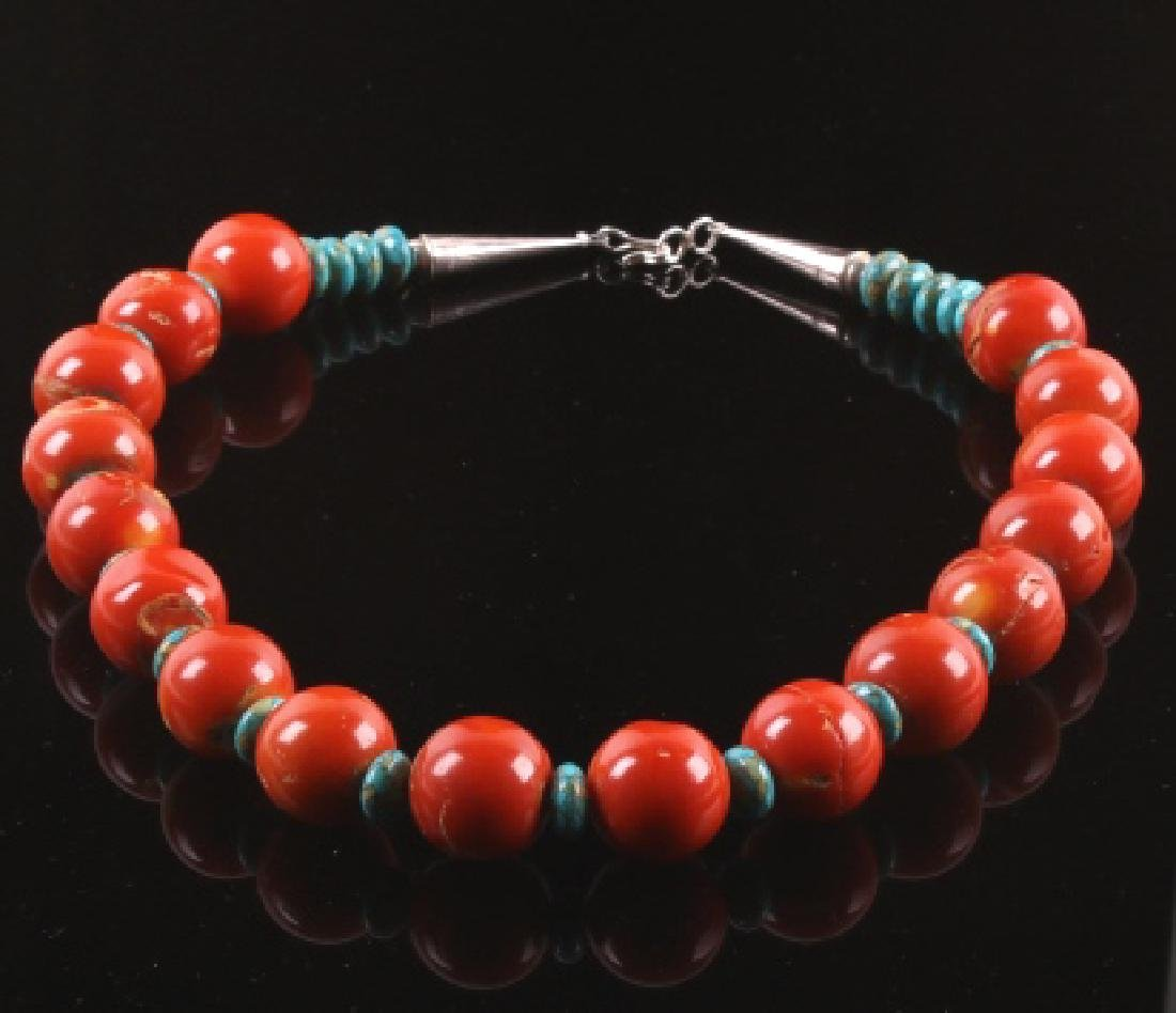 Navajo Bamboo Coral and Turquoise Nugget Necklace - 6