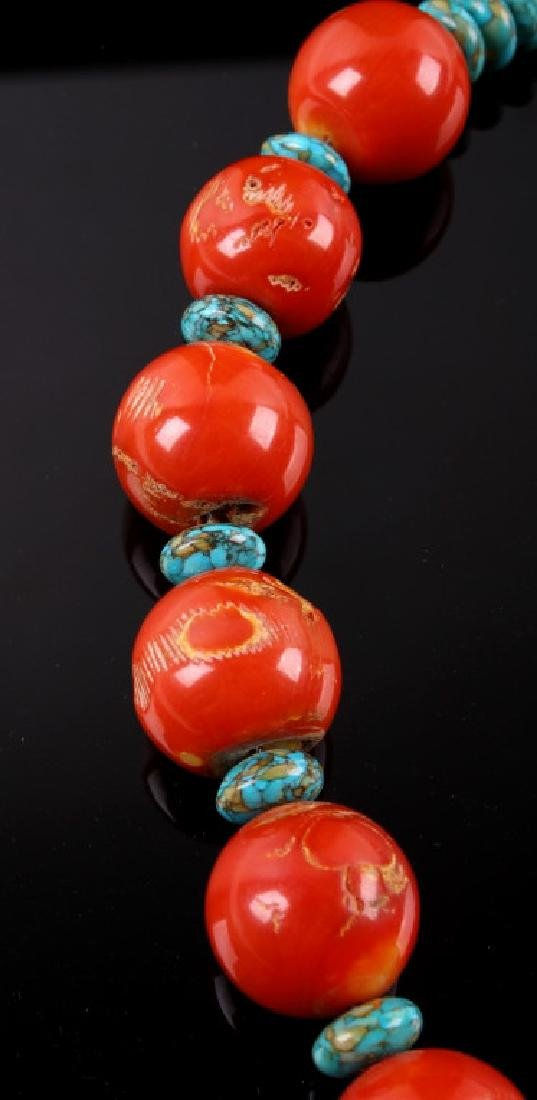 Navajo Bamboo Coral and Turquoise Nugget Necklace - 7
