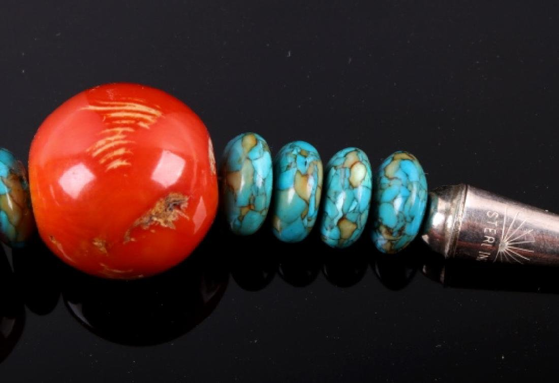 Navajo Bamboo Coral and Turquoise Nugget Necklace - 8