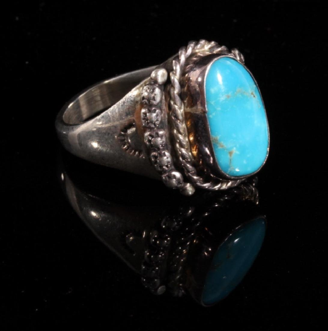Native American Turquoise and Sterling Silver Ring - 2