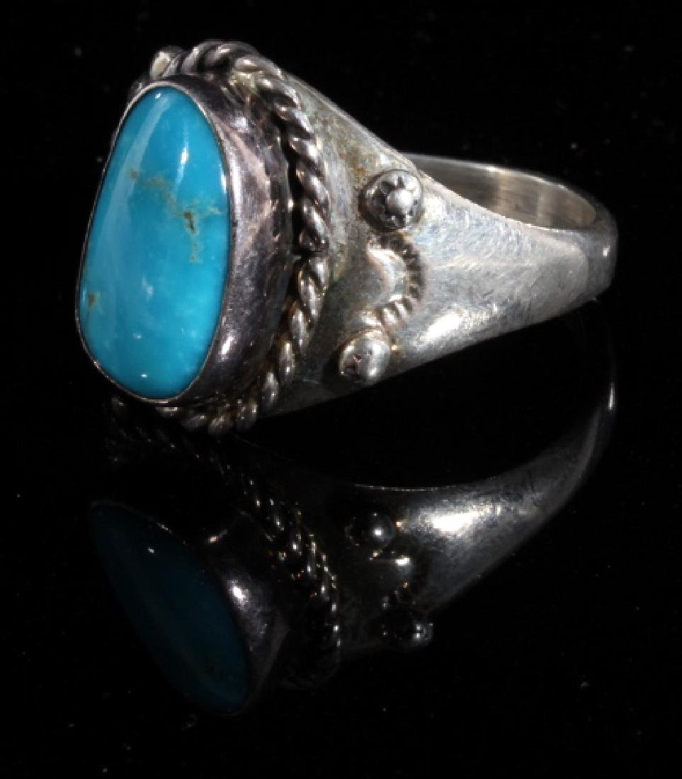Native American Turquoise and Sterling Silver Ring - 3