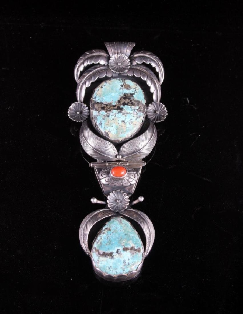 Navajo Sterling Silver & Morenci Turquoise Pendant