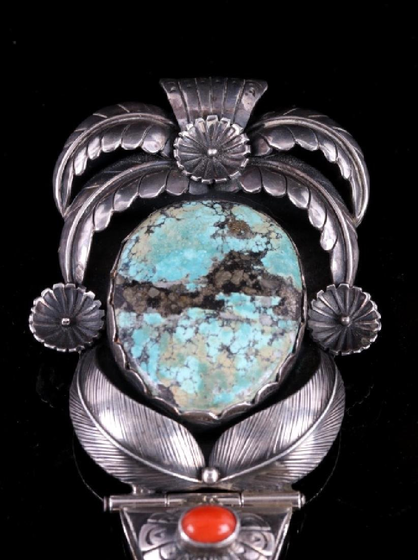 Navajo Sterling Silver & Morenci Turquoise Pendant - 2