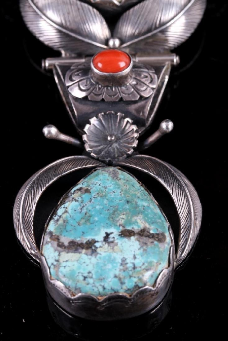 Navajo Sterling Silver & Morenci Turquoise Pendant - 6