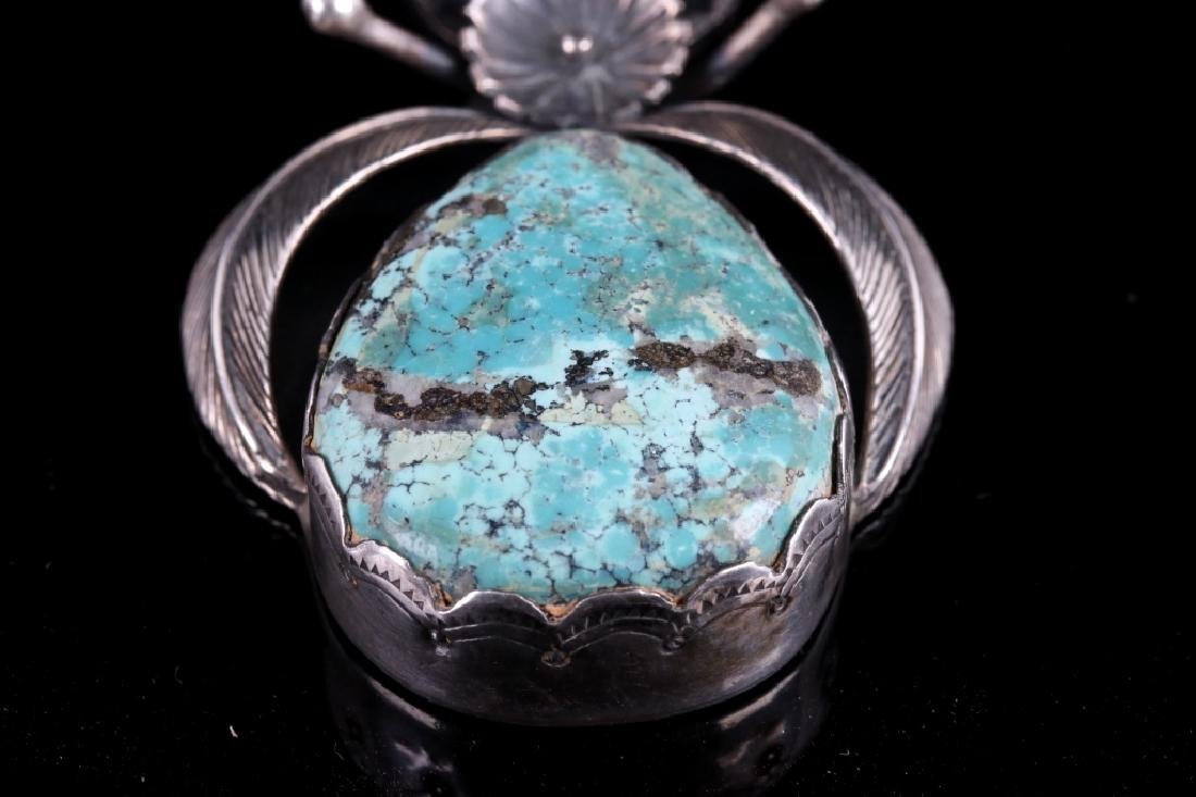 Navajo Sterling Silver & Morenci Turquoise Pendant - 7