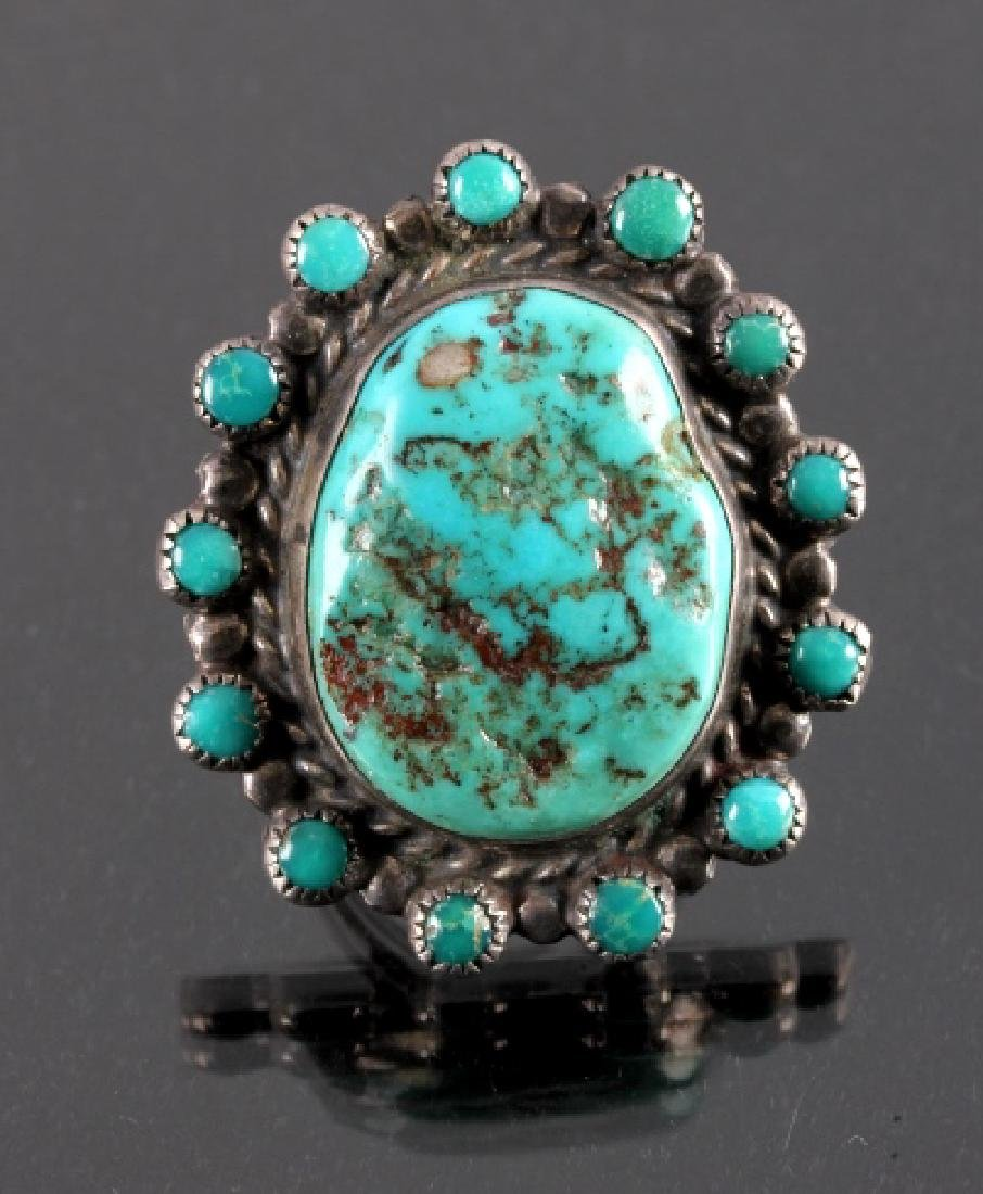 Navajo Sterling Silver Turquoise Nugget Ring
